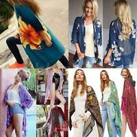 Women Chiffon Cardigan Floral Loose Boho Shawl Kimono Top Cover up Blouse Y2U6