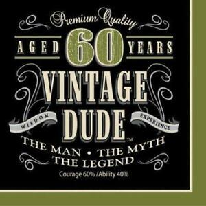 New 60 Vintage Dude Male Birthday Party Paper Plates & Napkins Party Decorations
