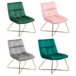 Sessel Stuhl Samt Gestell Golden gesteppt Lounge Sessel Relax Sessel