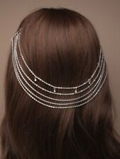 NEW Vintage silver back of head on comb headchain tiara wedding bride prom