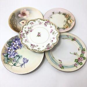Eclectic Set of 5 Various Salad Plates Haviland Limoges Nagoya Nippon Vintage