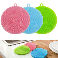 3PCS Kitchen Home Silicone Dish Washing Sponge Scrubber Cleaning Cleaner Mat
