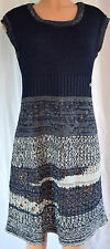 CHANEL BLUE/GRAY KNIT CUP SLEEVES COTTON SCOOP NECK DRESS SZ 42  # P43320K04500