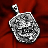 SAINT GEORGE CROSS SHIELD ST.GEORGE MEDAL 925 STERLING SILVER PENDANT NECKLACE +