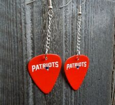 NFL Dangling New England Patriots Guitar Pick Earrings