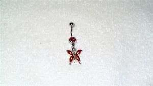 Red Butterfly Enamel Charm Belly Button Navel Ring Body Jewelry Piercing Bug