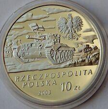 Poland 10 Zlotych, 2003, General Maczek, Tanks on battlefield, WWII