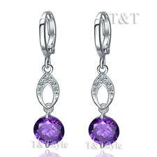 T&T Purple CZ Long Dazzling Dangle Earrings (ED57)