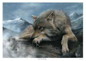 'On The Edge' Limited Edition Wolf Print by Vic Bearcroft