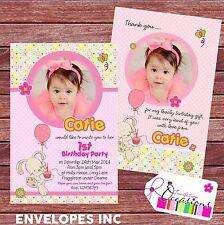 Invitaciones De Cumpleaños Personalizado o tarjetas de agradecimiento 1st Cumpleaños Chica X 5