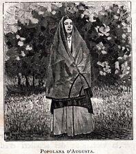 Popolana di Augusta.Costumi Siciliani.Siracusa.Stampa Antica + Passepartout.1892