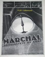 PUBLICITE MARCHAL SPECIALISTE DU CODE BIFOX PHARE TRILUX DE 1930 FRENCH AD PUB