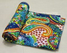 Indian Paisley 100% Cotton Kantha Quilt Vintage Bedspread Throw Ethnic Bedcover