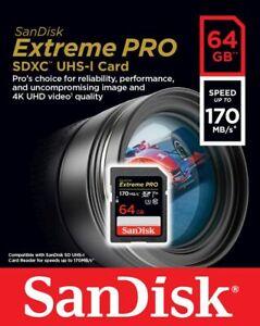 Genuine SanDisk 32GB 64GB 128GB 256GB Extreme PRO SDXC UHS-I V30 4K Class 10