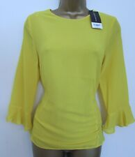 DOROTHY PERKINS LADIES VIBRANT PLAIN YELLOW BLOUSE TOP SIZE 8 WOMENS 3/4 SLEEVES