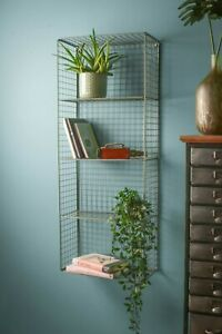 Industrial Retro Style Wire Wall Mounted Shelf Unit Office Kitchen Metal Storage