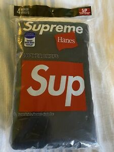 Supreme X Hanes Boxer Briefs Black Underwear Small 4 Briefs Total bogo box logo