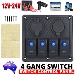 4 Gang 12V Switch Panel LED Rocker for Car Boat Marine RV Dual USB ON-OFF Toggle