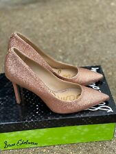 Sam Edelman Hazel Rose Gold Mini Glitter Heels Pump size 6.5