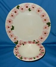 """Ceramic 6"""" Bowl & 10"""" Plate Embossed Daisy Design Pink Daisies Hand Painted"""