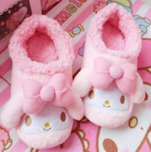 Pink My Melody Women Girls Winter Home Soft Plush Warm Slippers (UK 4.5-5.5)