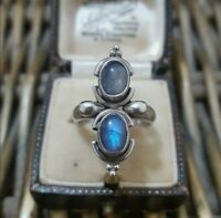 Natural Labradorite 925 Sterling Silver Ring, Rainbow Colours, Size OUS 7.25