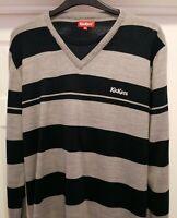 Kickers Men's Long Sleeve Grey & Navy Blue Striped Acrylic Jumper Sweater ~ XL