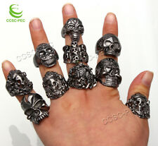 10pcs Wholesale Jewelry Lots Mixed Style Skull Black Plated Ring Free Shipping