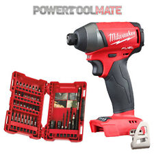 "Milwaukee M18FID Fuel 1/4"" Impact Driver (Body Only) + 4932430582 Drill Bit Set"