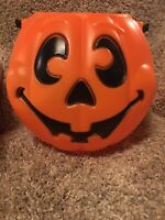Free SH TRICK TREAT Blow Mold Candy Bucket Pail Halloween Pumpkin Jack O Lantern