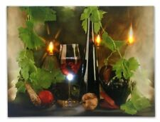 Canvas Wall Art LED Flickering Lights Wine Print Kitchen Picture Photo Decor