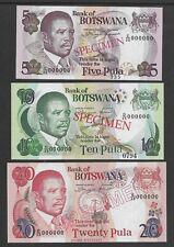Botswana 1992 5,10,20 Pula p11-13s Specimens CU