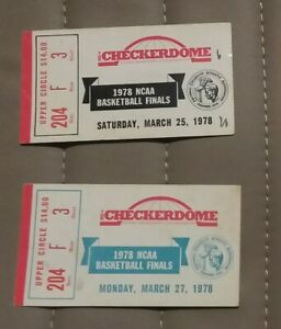 Pair of 1978 NCAA Basketball Finals Ticket Stubs Kentucky Vs Duke in St Loius