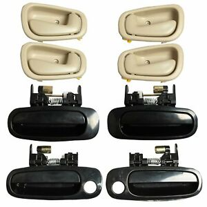 8Pcs Black Outside Beige Inside Interior Door Handles For 98-02 Toyota Corolla