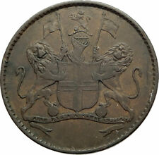 1821 ST HELENA & ASCENSION ISLANDS Lions Wreath Genuine 1/2 Penny Coin i76903