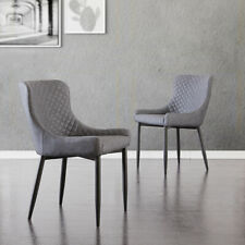 More details for 2pcs faux leather dining chairs set pu padded bucket seat metal legs grey chairs
