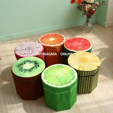 3D Design Fold-able Fruit Ottoman Storage Box Foot Stool Seating Pouf Home Decor
