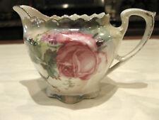 Vintage RS Germany Reinhold Schlegelmilch Cream Pitcher Floral Design Gold Trim