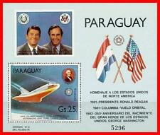 PARAGUAY 1981 SPACE / PRES. REAGAN / PRES.WASHINGTON S/S  MNH ** CV.$22.50