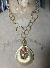 Alexis Bittar Large Gold Lucite Pendant Necklace - Coral Stones