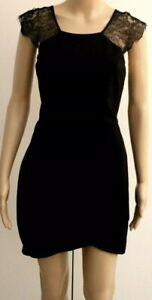 Forever New Dress Size 12 Ladies Black Stretch Lace Short Asymmetrical Hem