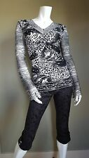 Silver leopard print top with lace trim and sleeves  with rhinestones brooch