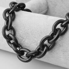 """Black Tone Rolo Link Men Chain Necklace 15mm 24"""" Heavy Punk 316L Stainless Steel"""