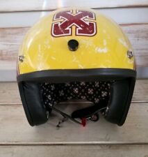 Sparx Open Face Motorcycle Helmet Yellow With Maroon Wings Small