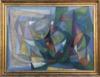 Unbekannter Kubist Modern Art Midcentury Farbige Komposition 63 x 82 cm