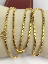 24k Solid Gold Box Chain Necklace. 20 Inches. 15 Grams