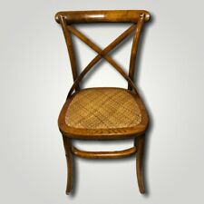 Vintage Retro Rattan seat Hall Chair Curved cross back rest Boho Dressing accent