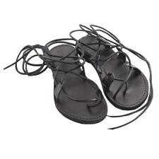 Sandali alla schiava Scarpe da donna MADE IN ITALY con lacci in cuoio Texa Neri