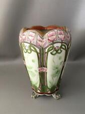 New listing Antique Vtg Nippon Gold Moriage & Porcelain Hand Painted Lotus Flower Foot Vase