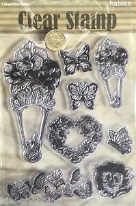 Pretty PANSY FANS HEART BUTTERFLIES FLOWERS Clear Rubber Stamp Set, 8 Images